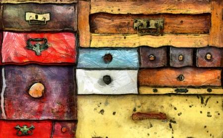 sigilo: Pintura abstrata das v�rias gavetas velhas - c�moda - em sigilo absoluto