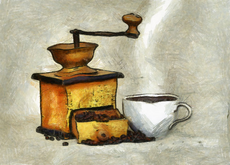 Antique coffee grinder with coffee Stock Photo