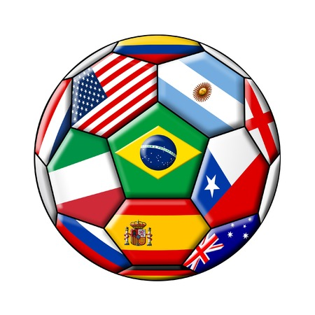 voetbal met vlaggen geïsoleerd op een witte achtergrond Stockfoto