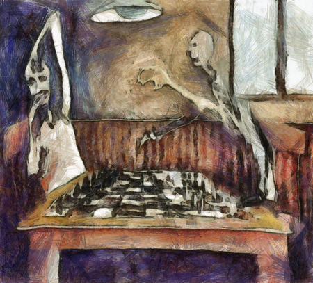 Duel of the chess players - mixed media photo
