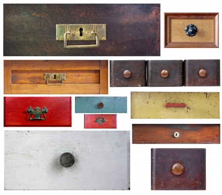 various old drawers on white background