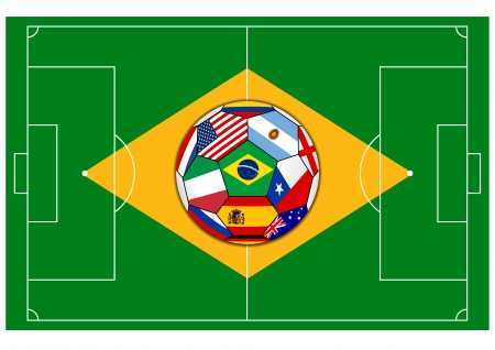 football field with ball - Brazil 2014 Vector