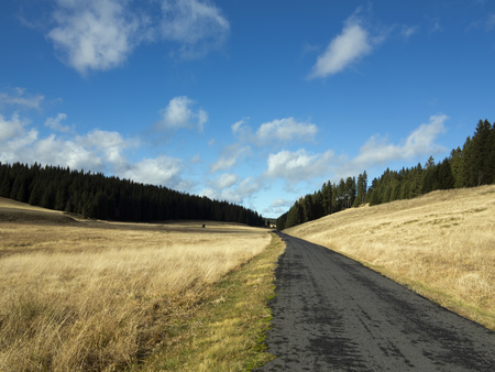 tableland: Image of the tableland with road - The Ore Mountains, Czech republic