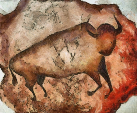 bull like primeval cave paintings Stock Photo