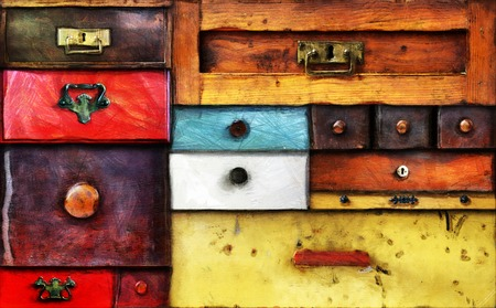 various old drawers - chest of drawers Stock Photo