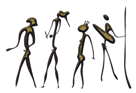 savagery: Hunters - primitive figures looks like cave painting