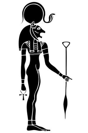 Vector Bastet - antiguo solar y diosa de guerra Ilustración de vector