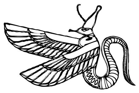 life after death: Vector dragon - demon of ancient Egypt Illustration