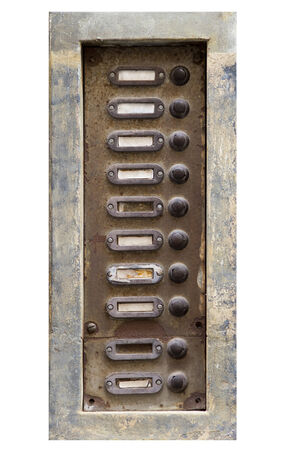 mangy: old and damaged doorbells Stock Photo