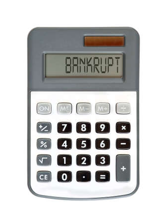 parsimony: message on the display - bankrupt - poor prospects Stock Photo