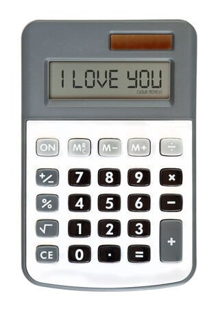 parsimony: message on the display - money talks - I Love You Stock Photo