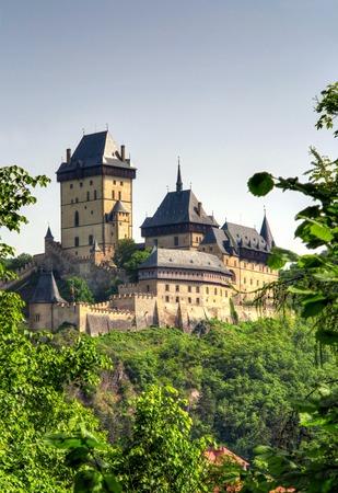 crenelation: Karlstejn Castle - famous Gothic castle Editorial