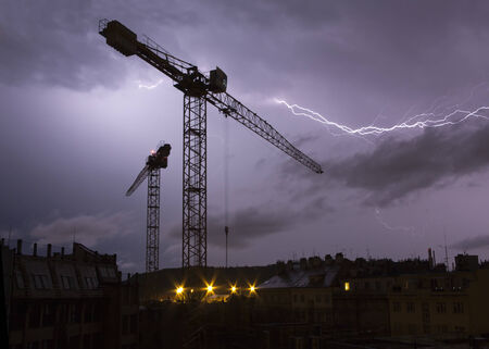 streak lightning: storm - lightnings above city Stock Photo