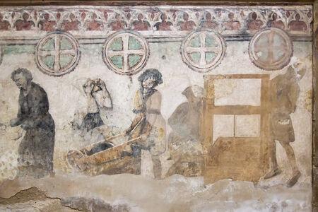 wall painting: Gothic wall painting in Saint Barbara church Stock Photo
