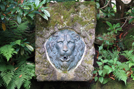 wellhead: spring well in nature with lion head Stock Photo