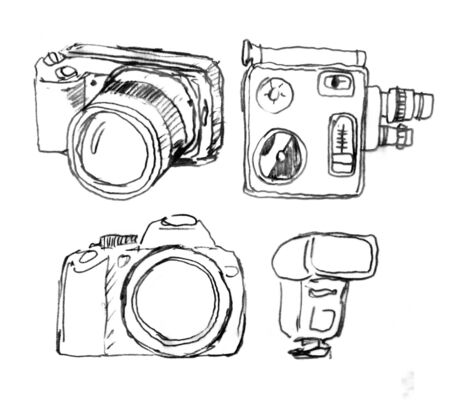 cine: Drawing various cameras  and photo equipment