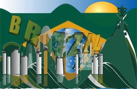 janeiro: Abstract vector skyline of the Rio de Janeiro