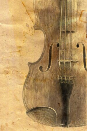 old fiddle in grunge style