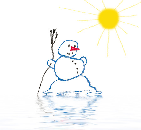 thawing: melting snowman - spring has come Stock Photo