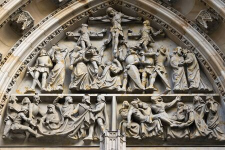 vitus: Crucifixion - relief above the entrance to Saint Vitus Cathedral