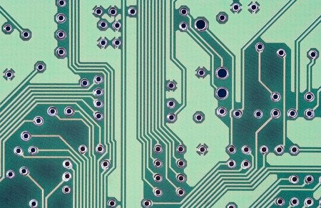 technology background: printed circuit - green motherboard - abstract technology background