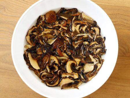 mycology: soaked dried mushrooms - food ingredient