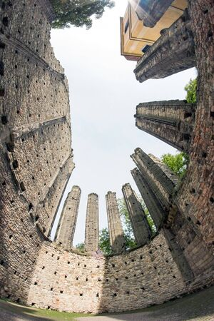 fish eye lens: Unfinished Gothic cathedral of Our Lady founded in the 12 th century