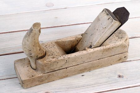 wood planer: Hand tool - old and used wood planer Stock Photo