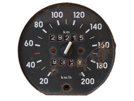 damaged: Old and damaged tachometer Stock Photo