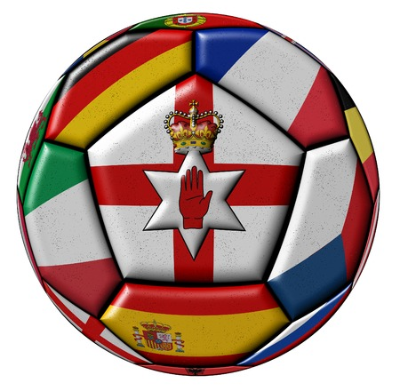 ireland flag: Soccer ball with flag of Northern Ireland in the center Stock Photo