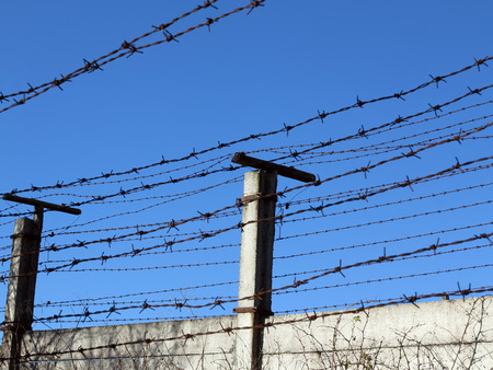 admittance: Barbed wire - No Admittance Stock Photo