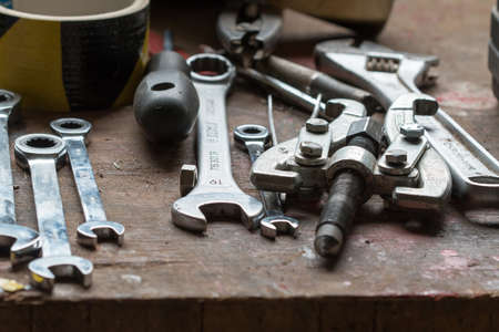 spanned: Detail of the various hand tool - spanned spanners Editorial
