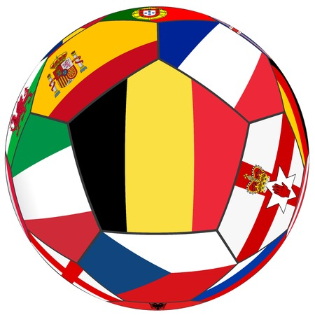 european countries: Ball on a white background with flags of European countries - dominant flag Belgium