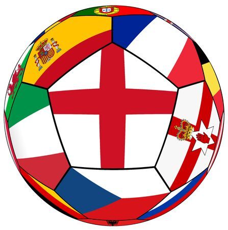 european countries: Soccer ball on a white background with flags of European countries - England dominant flag