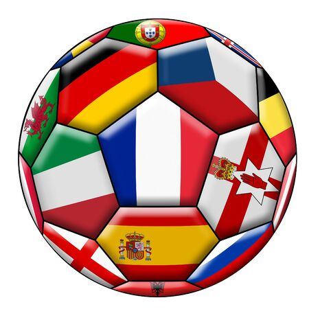 european countries: Soccer ball on a white background with flags of European countries