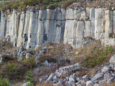 columnar: Old basalt quarry in The Ore Mountains - columnar jointing of basalt