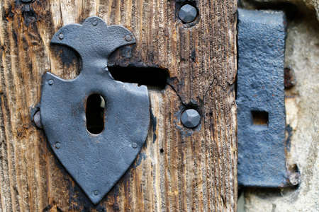 key hole: Detail of the decorative door fittings and key hole