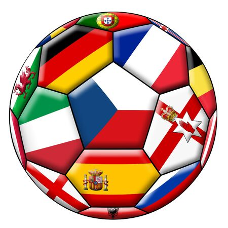 european countries: Soccer ball with flags of European countries
