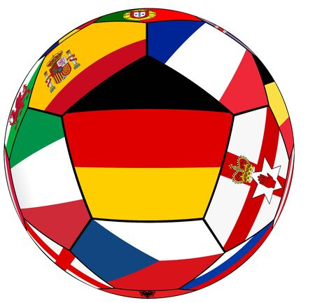 european countries: Ball on a white background with flags of European countries - flag of Germany in the center