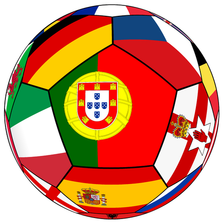 european countries: Soccer ball on a white background with flags of European countries - flag of Portugal in the center