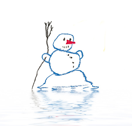 thawing: Drawing of melting snowman
