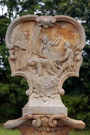 humiliation: Relief - Calvary - Stations of the Cross - Jesus falls the second time