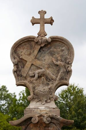 carrying the cross: Relief - Calvary - Stations of the Cross - Jesus falls the third time
