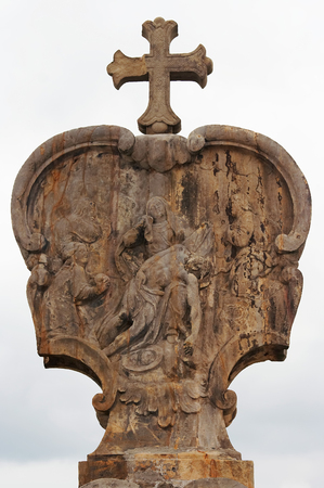 degradation: Relief - Calvary - Stations of the Cross - Jesus is taken down from the cross