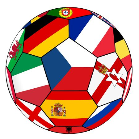 dominant: Soccer ball on a white background with flags of European countries - Czech dominant flag Illustration