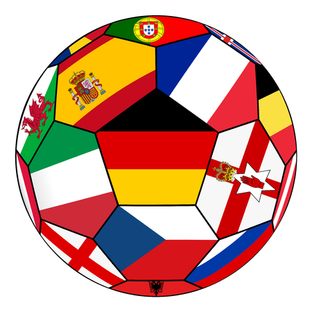 germany flag: Ball on a white background with flags of European countries -  Germany flag in the center
