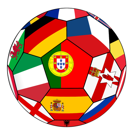 european countries: Ball on a white background with flags of European countries - flag of Portugal in the center Illustration