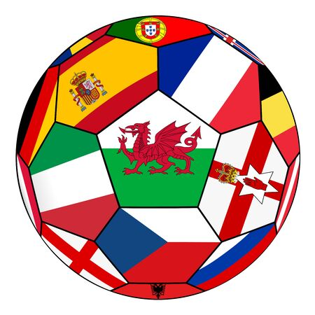 european countries: Soccer ball on a white background with flags of European countries - flag of Wales in the center Illustration