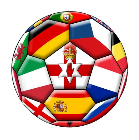 european countries: Ball on a white background with flags of European countries Stock Photo