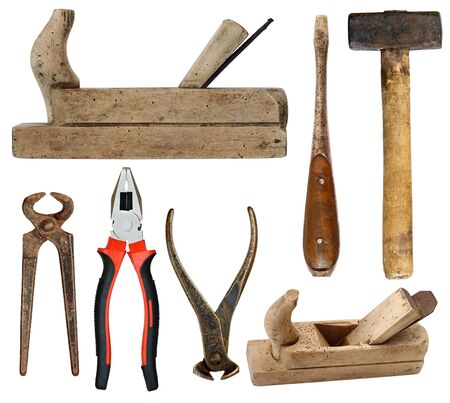 holdfast: Various old and used hand tools isolated on white background Stock Photo